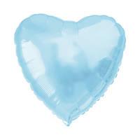 """Сердце фольгированное металлик 18""""/45см.-надув воздухом- Голубой нежный, Голубой нежный"""