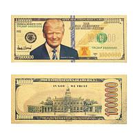 Сувенирная банкнота Дональд Трамп миллион долларов США золотая
