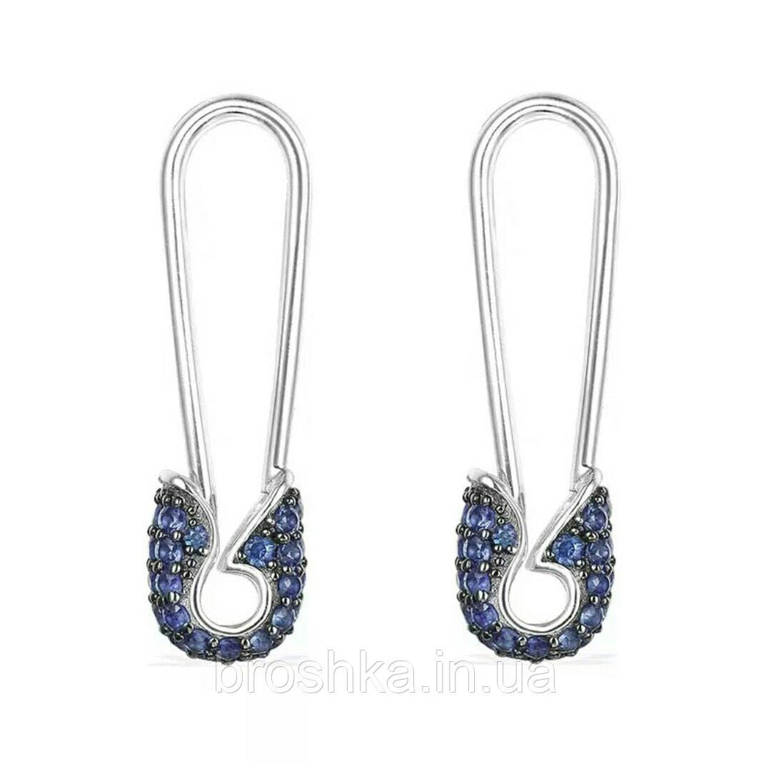 Серьги булавки с синими камнями бижутерия
