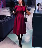 Платье женское стильное миди серое красное бордо, фото 1