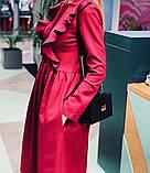 Платье женское стильное миди серое красное бордо, фото 2