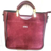 Женская Сумочка ZARA сумка из  натуральной замши бордовая