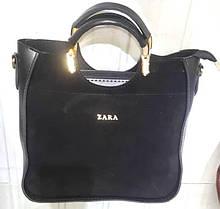 Женская Сумочка ZARA сумка из  натуральной замши черная