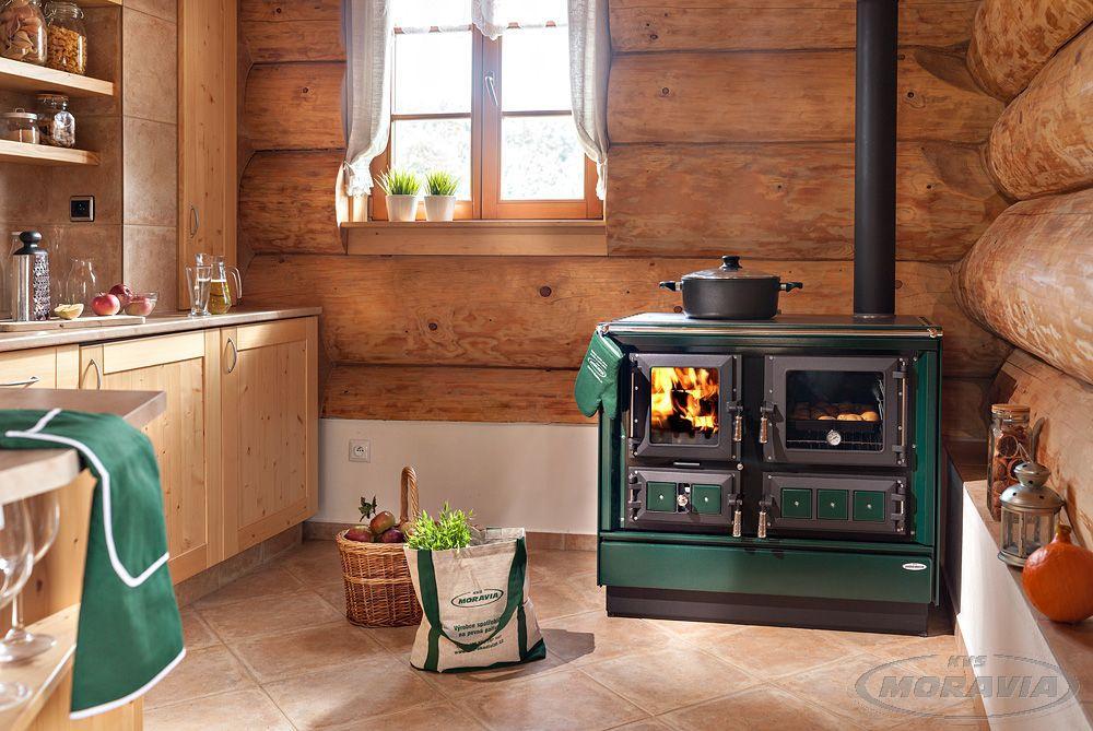 Печь камин духовым шкафом плитой KVS Moravia 9112 - Klaudie Зеленая (шпор Моравия)