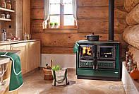 Отопительно варочная печь камин на дровах KVS Moravia 9112 - Klaudie Зеленая.