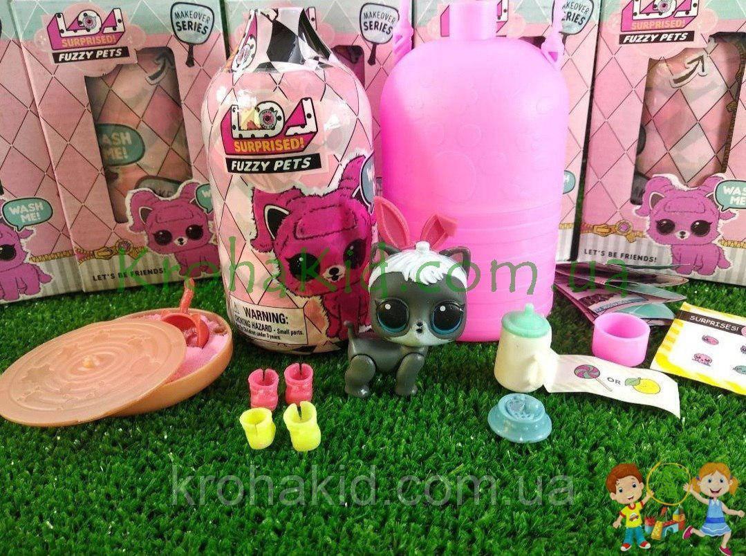 Кукла LOL Surprise Fuzzy Pets Makeover, ЛОЛ питомцы с кинетическим песком / Лол животное 5 серия - аналог