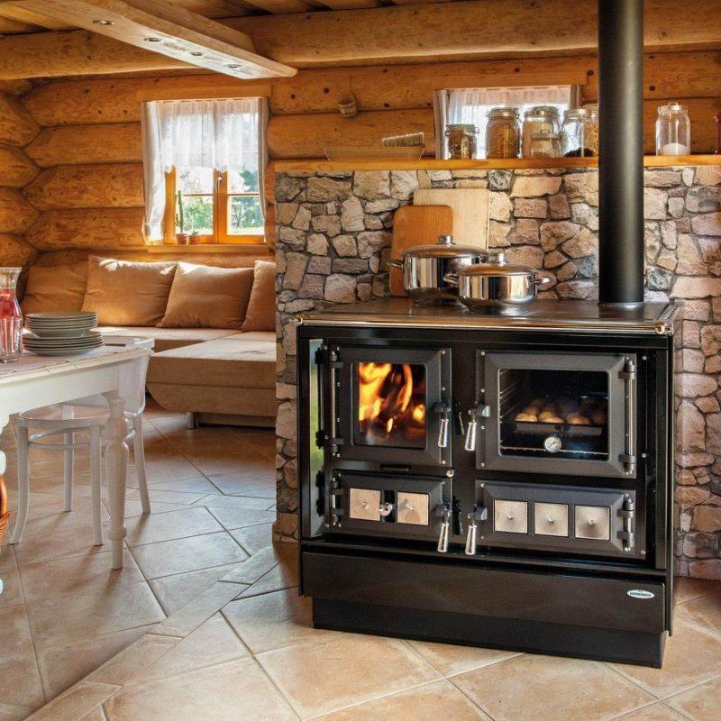 Отопительно варочная печь с духовкой длительного горе KVS Moravia 9112 Klaudie Черная (шпор Моравия)