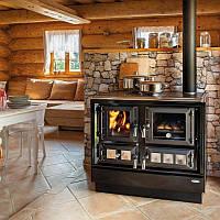 Отопительно варочная печь камин на дровах KVS Moravia 9112 - Klaudie Черная.