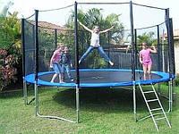 Батут для детей и взрослых МС 0497 с защитной сеткой и лестницей