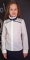 Школьная блузка нарядная с кружевом мод.8071