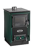 Отопительно варочная печь камин на дровах KVS Moravia 9114 Sofie Зеленая.
