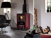Отопительно варочная печь камин на дровах KVS Moravia 9114 Sofie ( Бордовая )