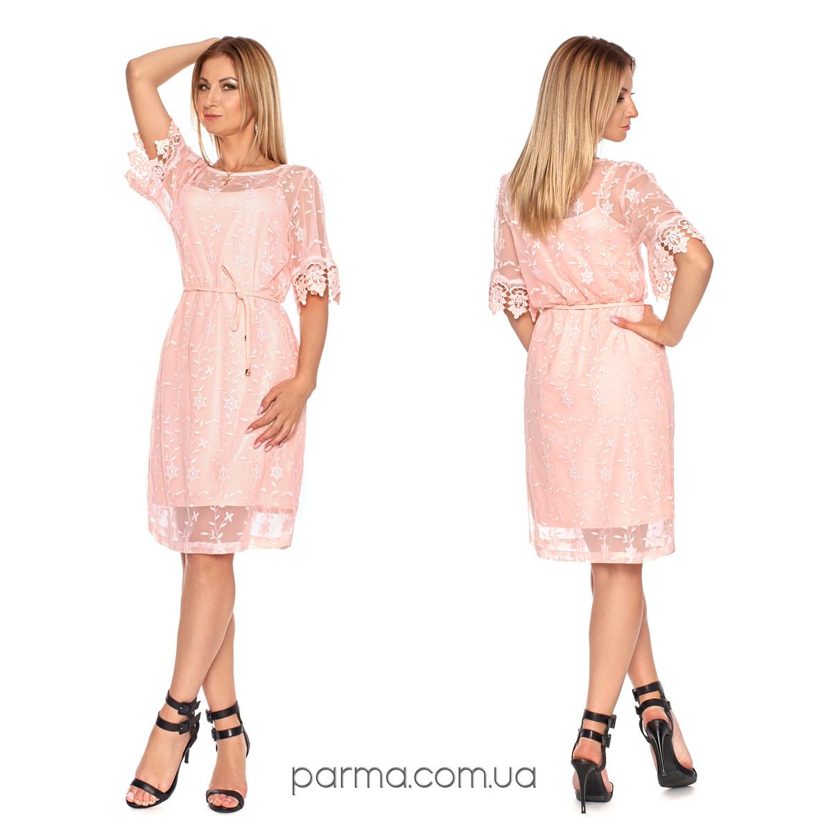 317c61ecf8212b2 Нарядное женское платье с вышивкой (р.44,46,48,50) креп-шифон ...