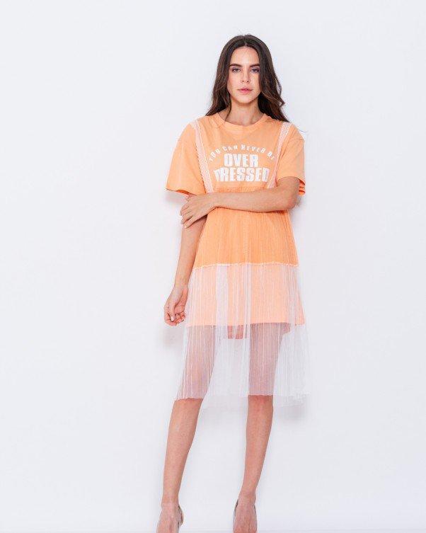 a2bcfc137b6 Оранжевый трикотажное платье с сетчатой вставкой (есть размеры ...