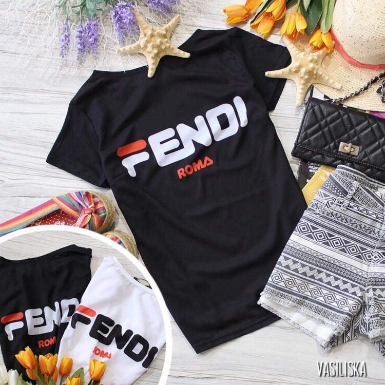 Стильная футболка с крутыми принтами брендов белая и черная