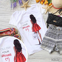 Стильная футболка с крутыми принтами брендов белая и черная, фото 3