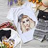 Стильная футболка с крутыми принтами брендов белая и черная, фото 4