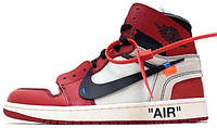 "Мужские кроссовки Off-White x Nike Air Jordan 1 ""Red/White"" (ОФФ Вайт Найк Аир Джордан) красные"