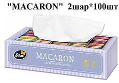 """Серветки паперові у коробці ТМ Silken """"MACARON""""  2шар*100шт"""