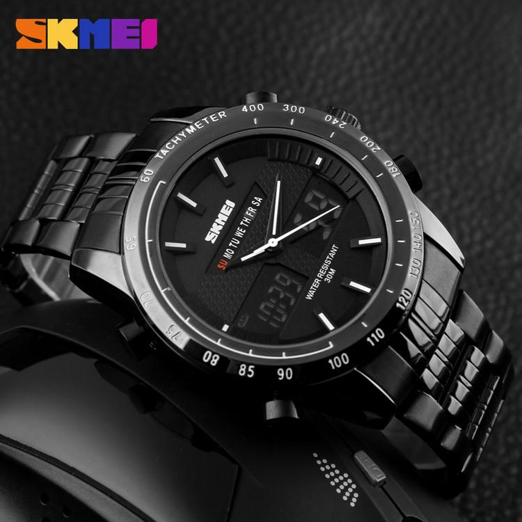 Skmei 1131 army черные с белым спортивные  часы мужские