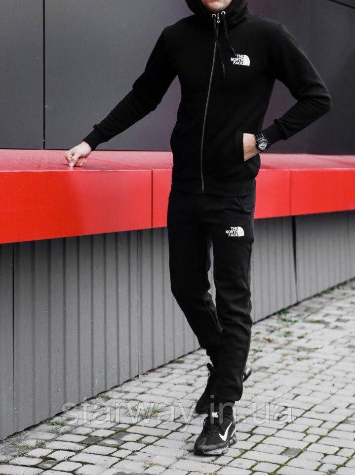 Стильний спортивний костюм на блискавці принт The North Face з капюшоном