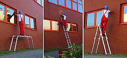 Лестница трансформер Higher 4x4  4-х секционная алюминиевая универсальная раскладная  16 ступ. 4.6м Польша
