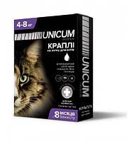 Unicum premium. Капли на холку для котов 4-8кг. Антипаразитный способ против гельминтов, блох и клещей. 1мл.