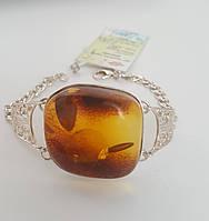 """Браслет серебро 925 с огромным натуральным янтарем """"Афина"""""""