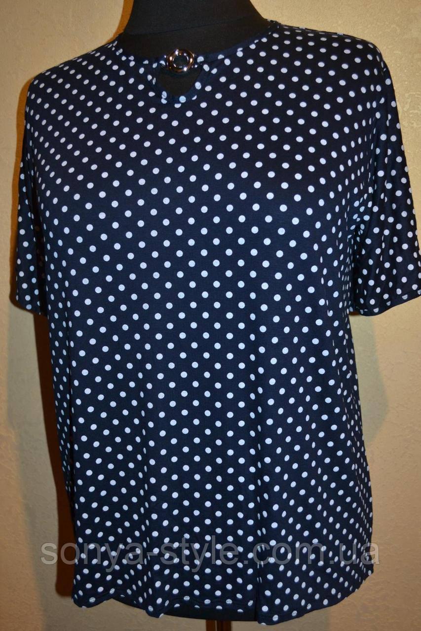 """Женская блузка """" крупый  горошек  """" больших размеров"""
