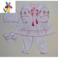 Костюм - вышиванка детский с платьем Розочка Размер 62 - 68 см