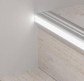 Профіль алюмінієвий для ступенів з LED підсвічуванням Profilpas 43.5х52.5х2700 мм G/9/F
