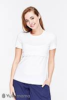 Белая футболка для беременных кормящих мам CELINE NR-29.011, молочная*, фото 1
