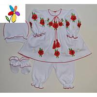 Детский костюм - вышиванка с платьем Маки Размер 62 - 68 см