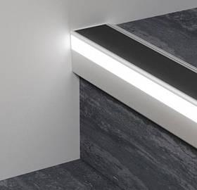 Профиль алюминиевый лестничный с LED подсветкой Profilpas 52х62х2700 мм 126/L/F