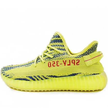 Кроссовки мужские Adidas Yeezy Boost SPLY-350 (зеленые-салатовые-желтые) Top replic, фото 2