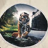 Коврик для пляжа круглый, подстилка Тигр с бахромой, фото 2