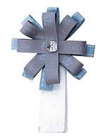 Аксессуары для коляски Roan Бантик на магните голубой-серый (голубая корона и надпись)