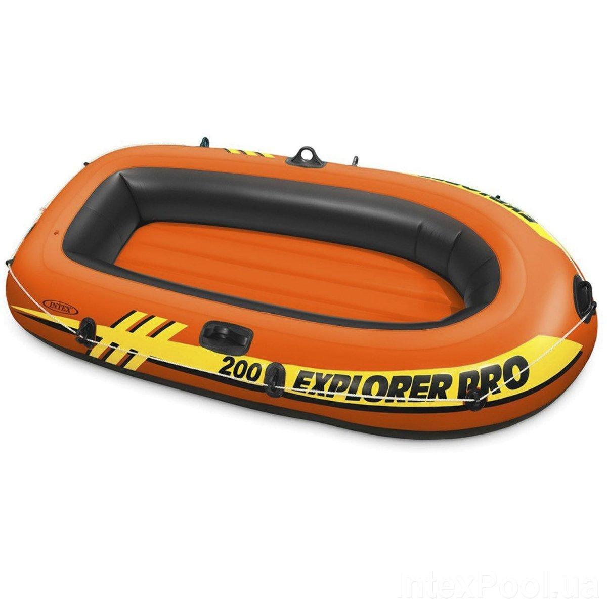 Двухместная небольшая надувная лодка Intex 58356 Explorer Pro 200 (196*102*33 см), до 120 кг, оранжевая