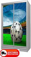 Шкаф купе 2Д двухдверный Футбол 29, выбор цвета корпуса и рисунка