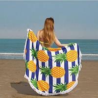 Коврик для пляжа круглый, подстилка Ананасы с бахромой