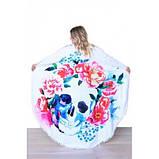 Коврик для пляжа круглый, подстилка Череп в цветах с бахромой, фото 2