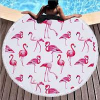 Коврик для пляжа круглый, подстилка Розовый фламинго с бахромой