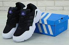 Кроссовки мужские Adidas Yung-96 (черные-белые) Top replic, фото 2
