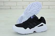 Кроссовки мужские Adidas Yung-96 (черные-белые) Top replic, фото 3