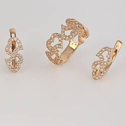 Ювелірні набори із золота сердечка П13