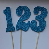 Топпер цифра голубой глиттер