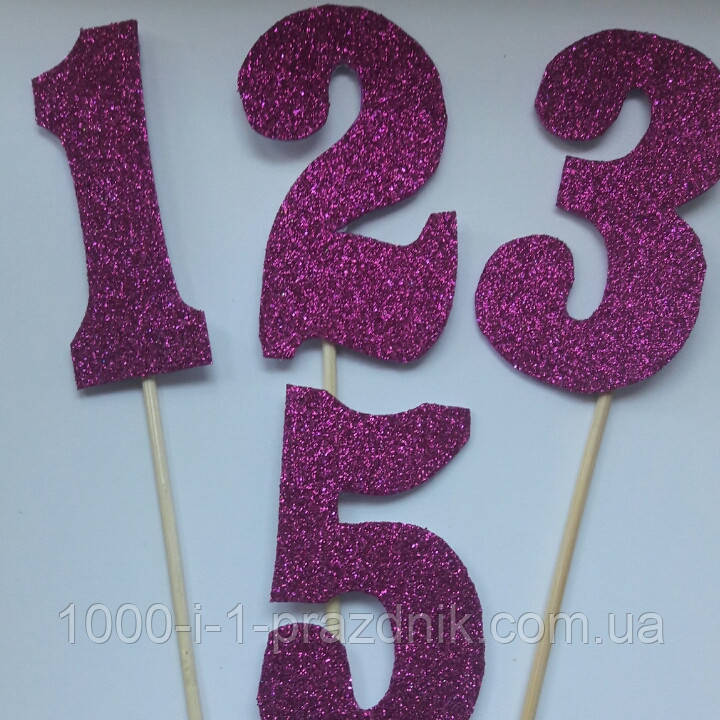 Топпер цифра розовый глиттер
