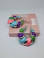 Крупные серьги с цветной эмалью покрытые родием XUPING