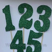 Топпер цифра в зеленому глиттере