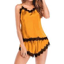 Піжама жіноча жовта з мереживними вставками П96